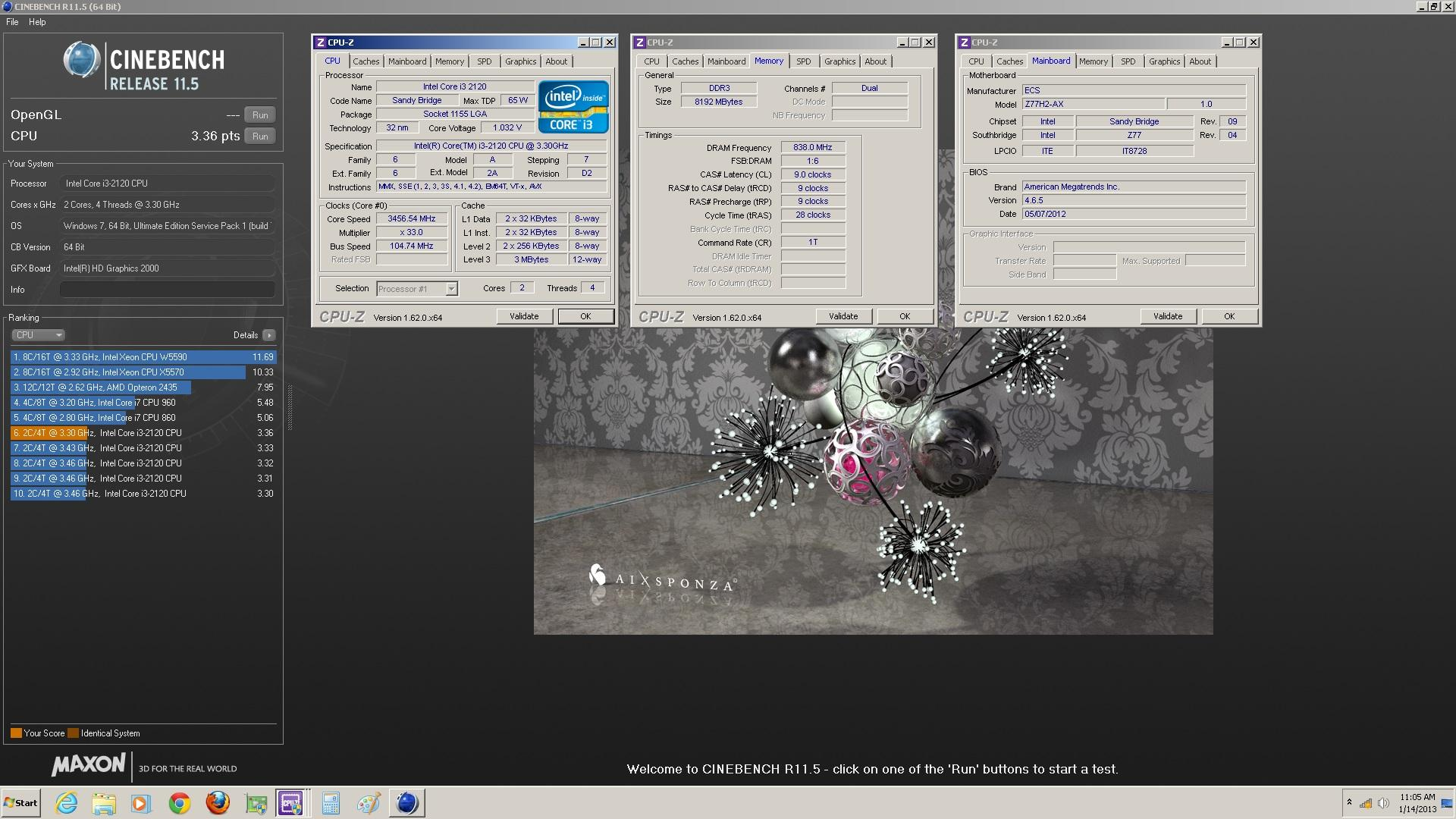 Kryptonian Shers Cinebench R115 Score 336 Points With A Core I3 2120 Media Gallery