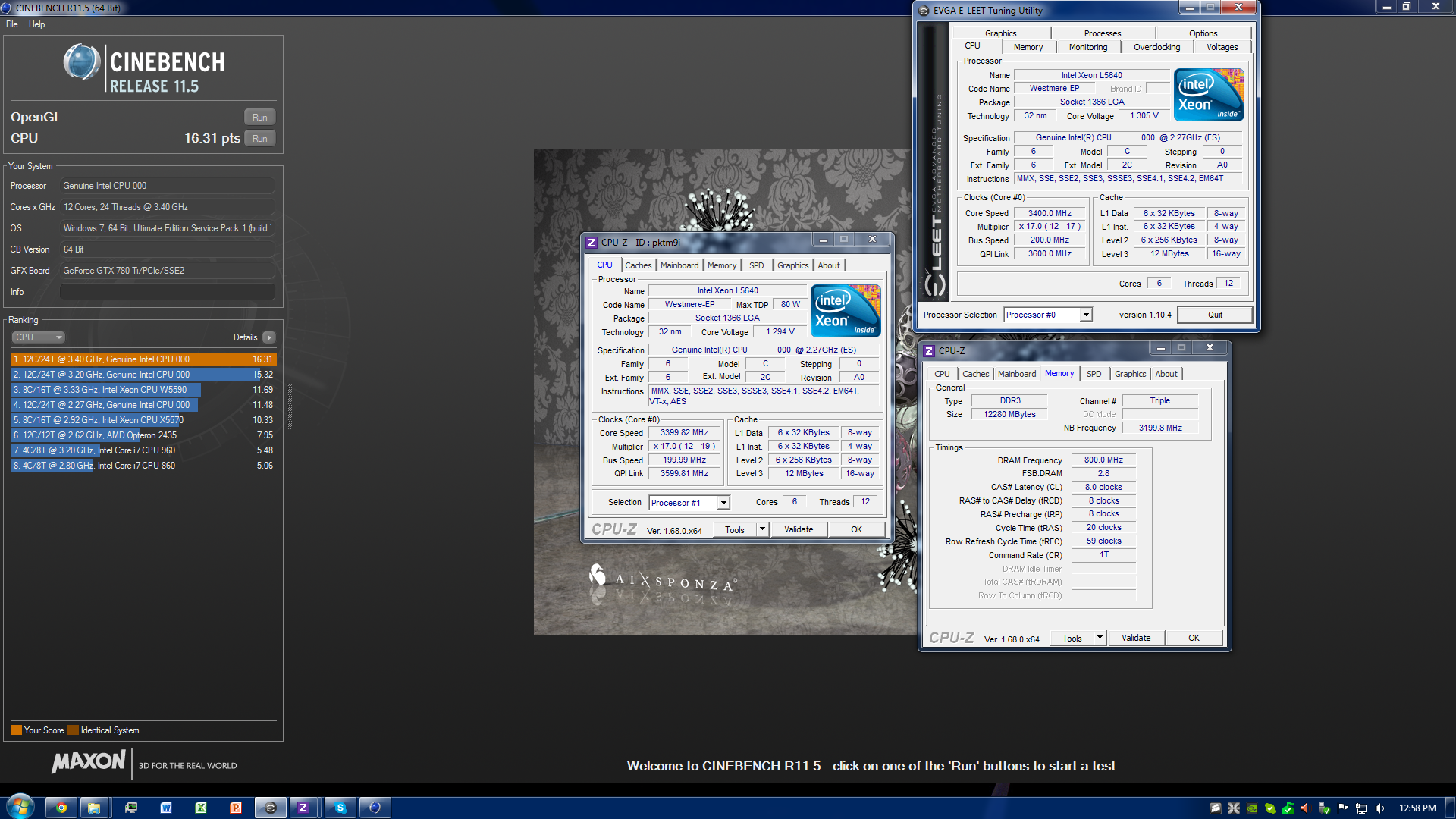 Valgaur`s Cinebench - R11 5 score: 16 31 points with a Xeon L5640