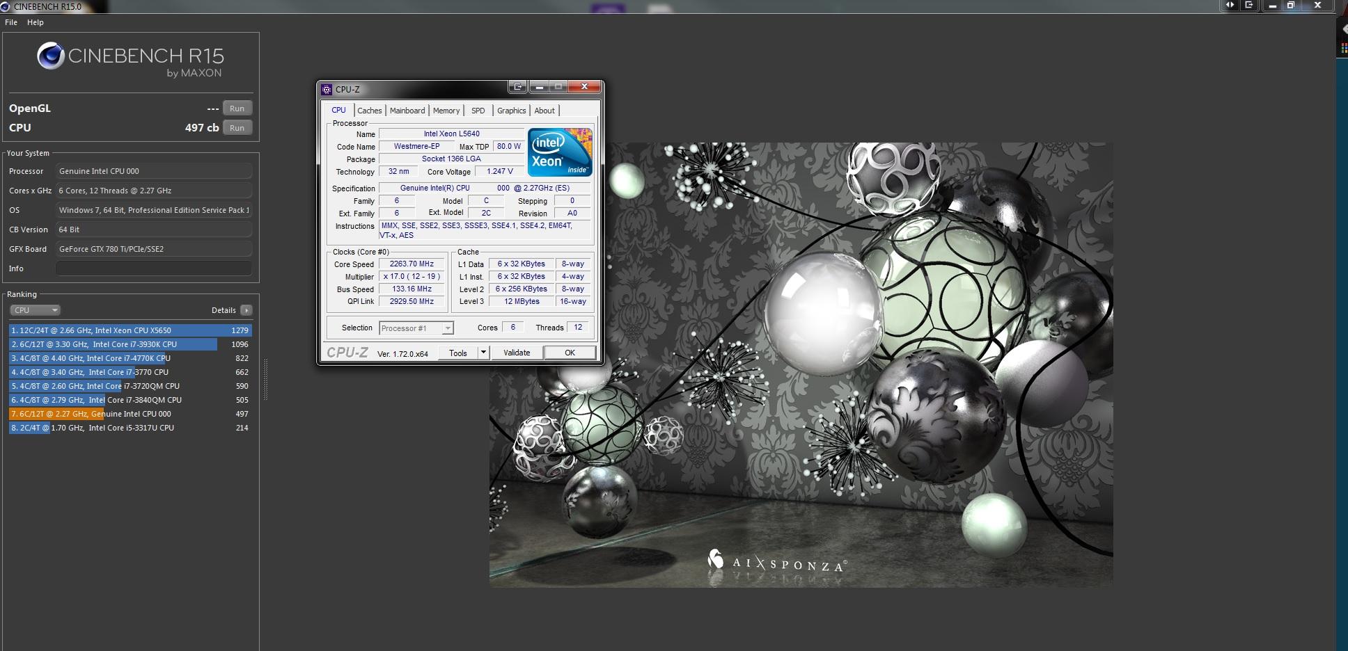 Valgaur`s Cinebench - R15 score: 497 cb with a Xeon L5640