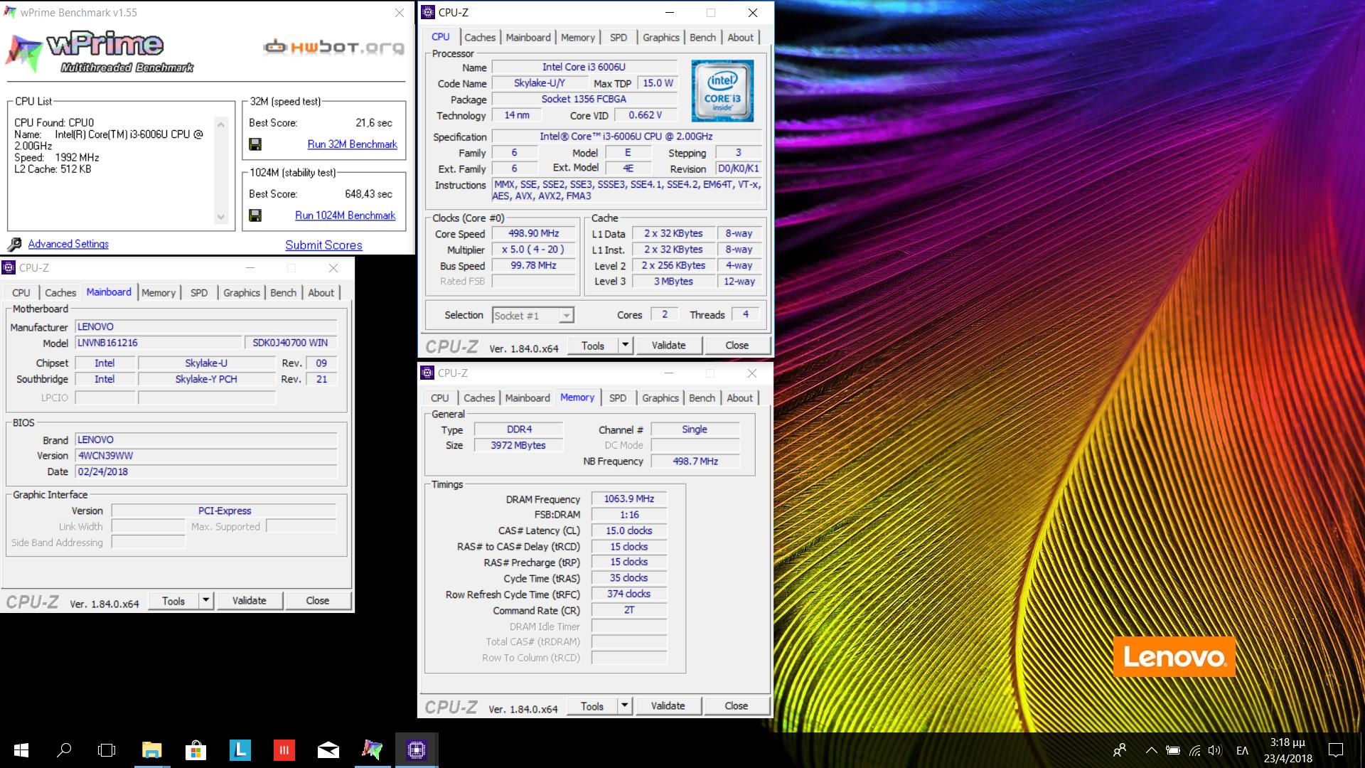 Ilias83`s wPrime - 1024m score: 10min 48sec 430ms with a Core i3 6006U