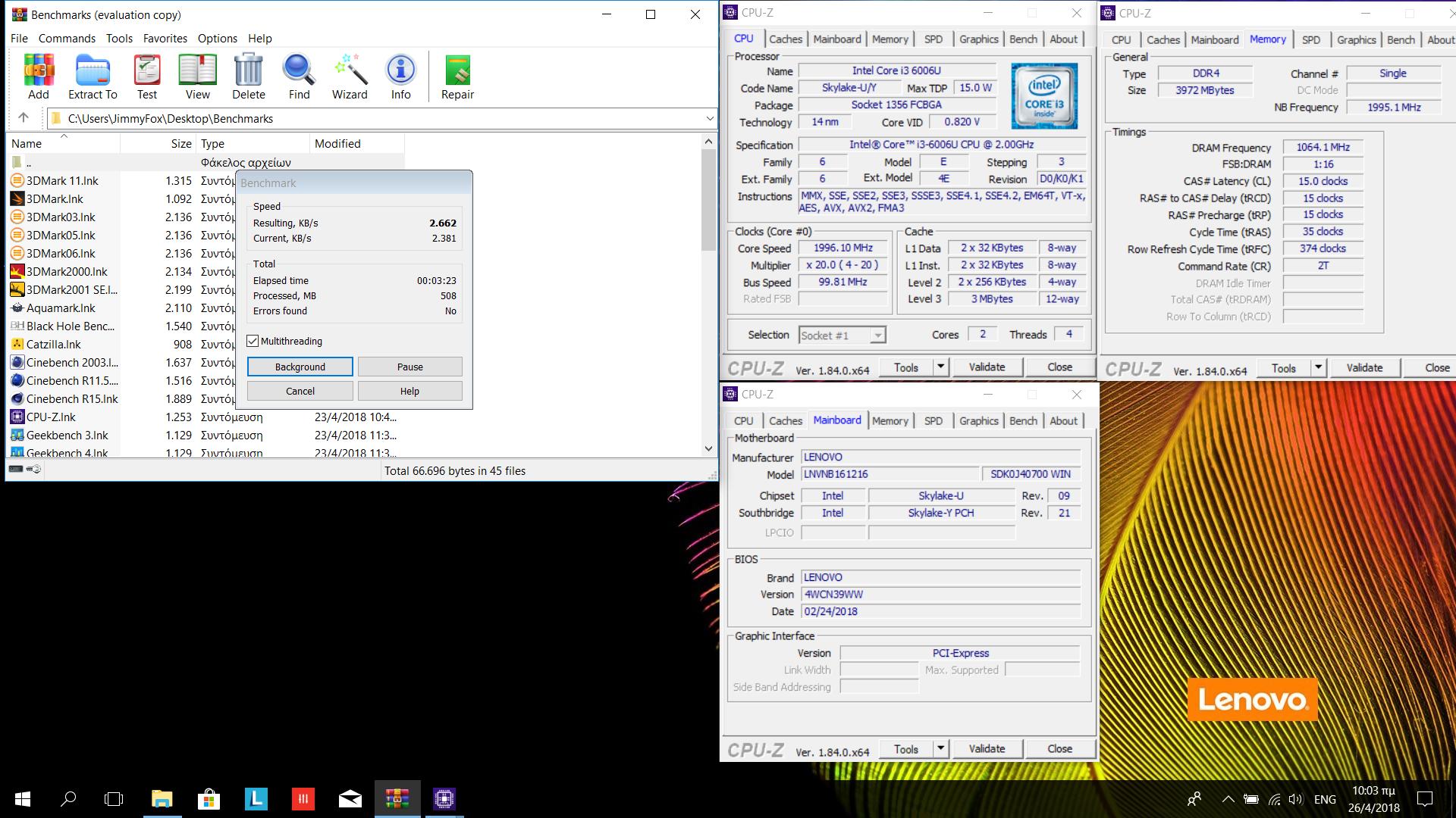 Ilias83`s WinRAR score: 2662 KB/s with a Core i3 6006U
