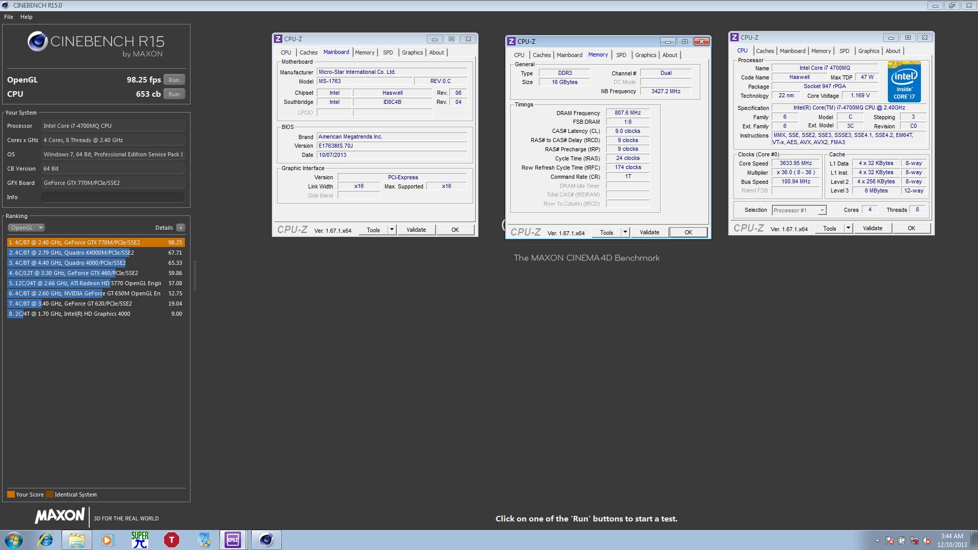 FUGGER`s Cinebench - R15 score: 653 cb with a Core i7 4700MQ