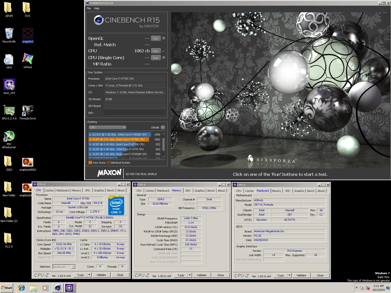 DR4G00N`s Cinebench - R15 score: 1062 cb with a Core i7 4770K