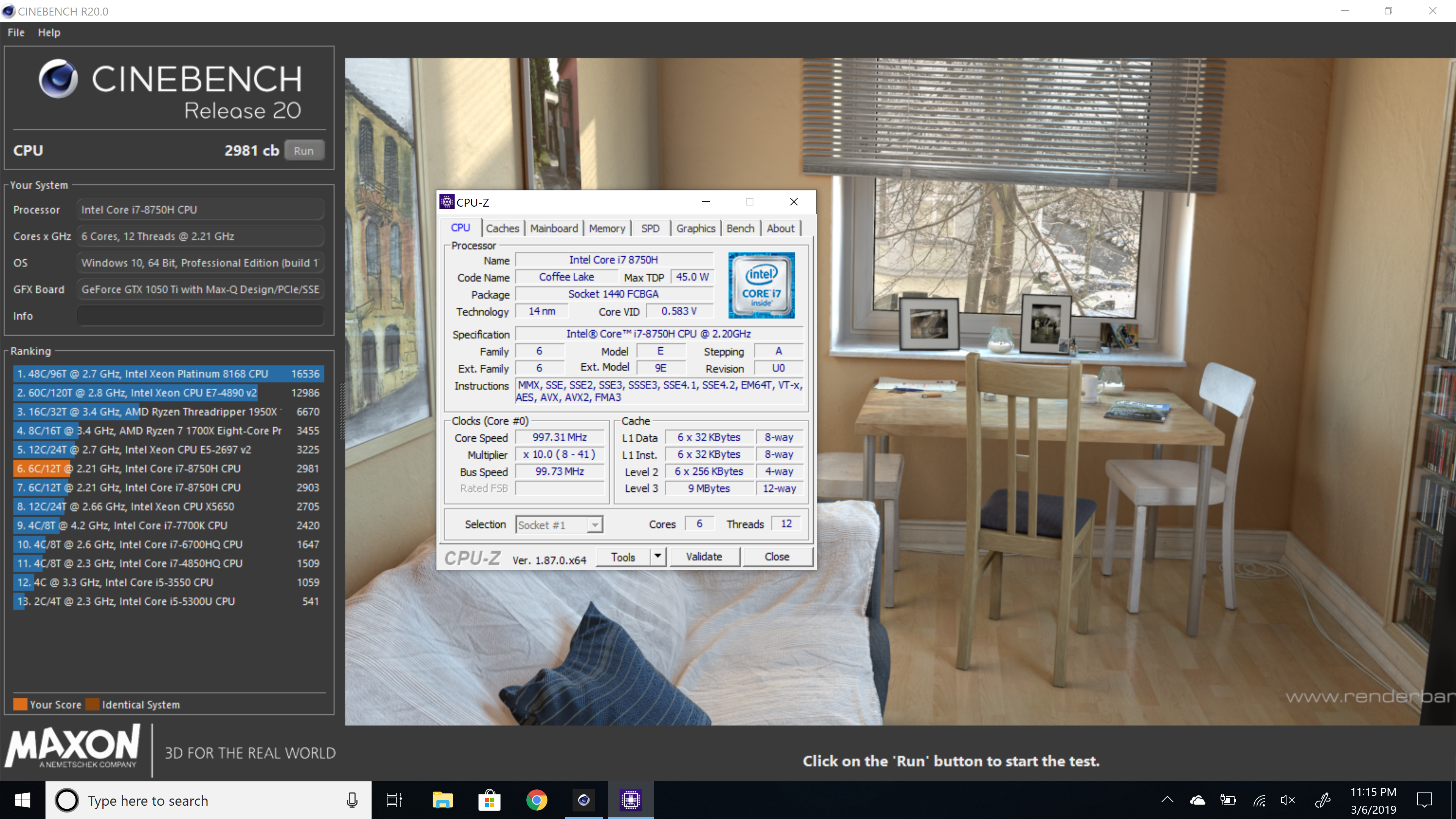 Arm3nian`s Cinebench - R20 score: 2981 marks with a Core i7