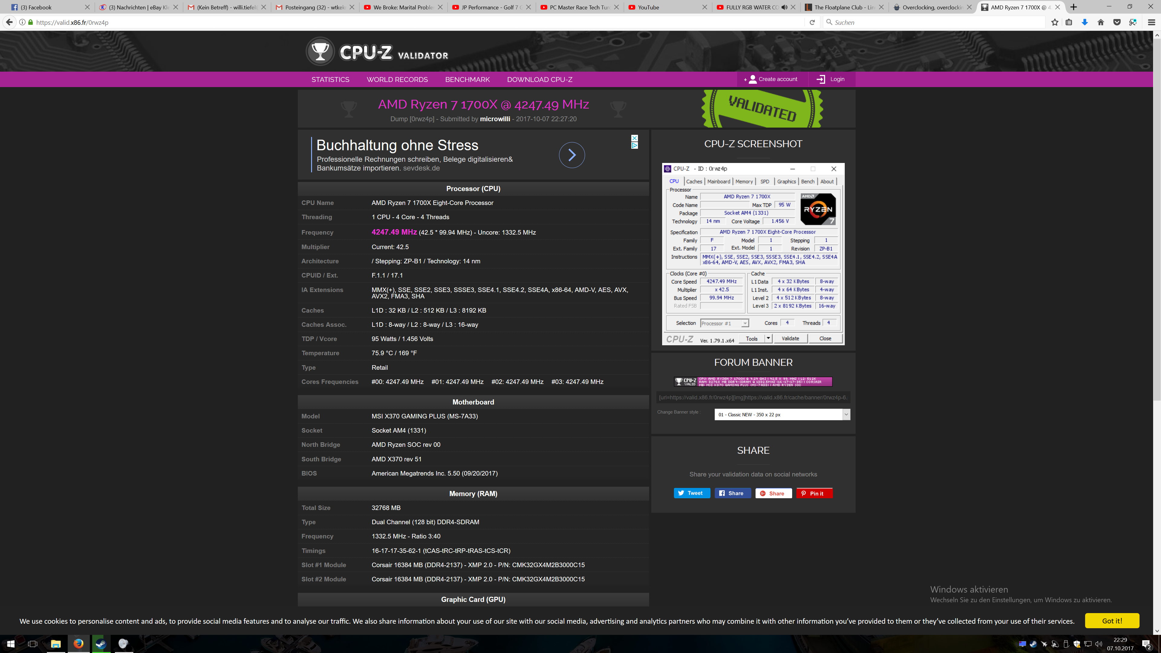 Microwillis Cpu Frequency Score 424749 Mhz With A Ryzen 7 1700x