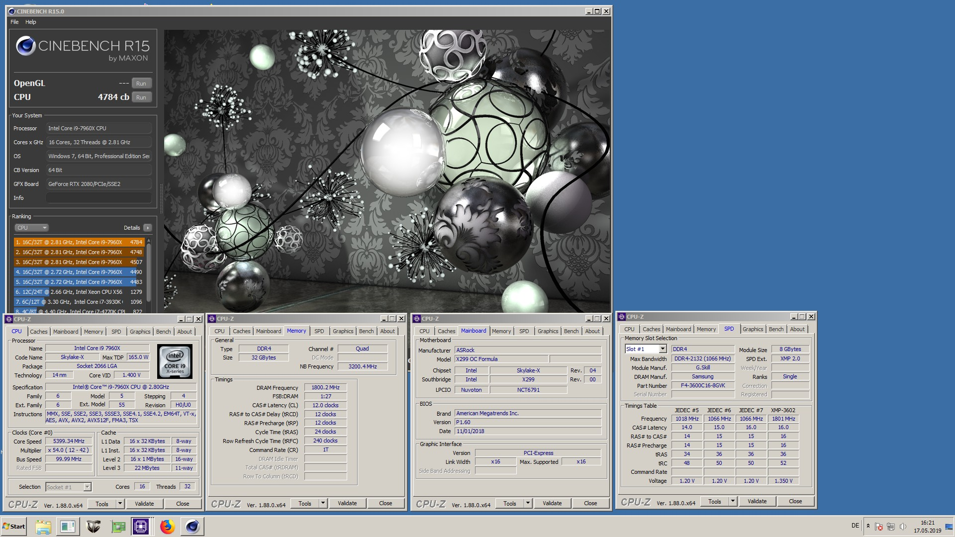 joe_cool`s Cinebench - R15 score: 4784 cb with a Core i9 7960X