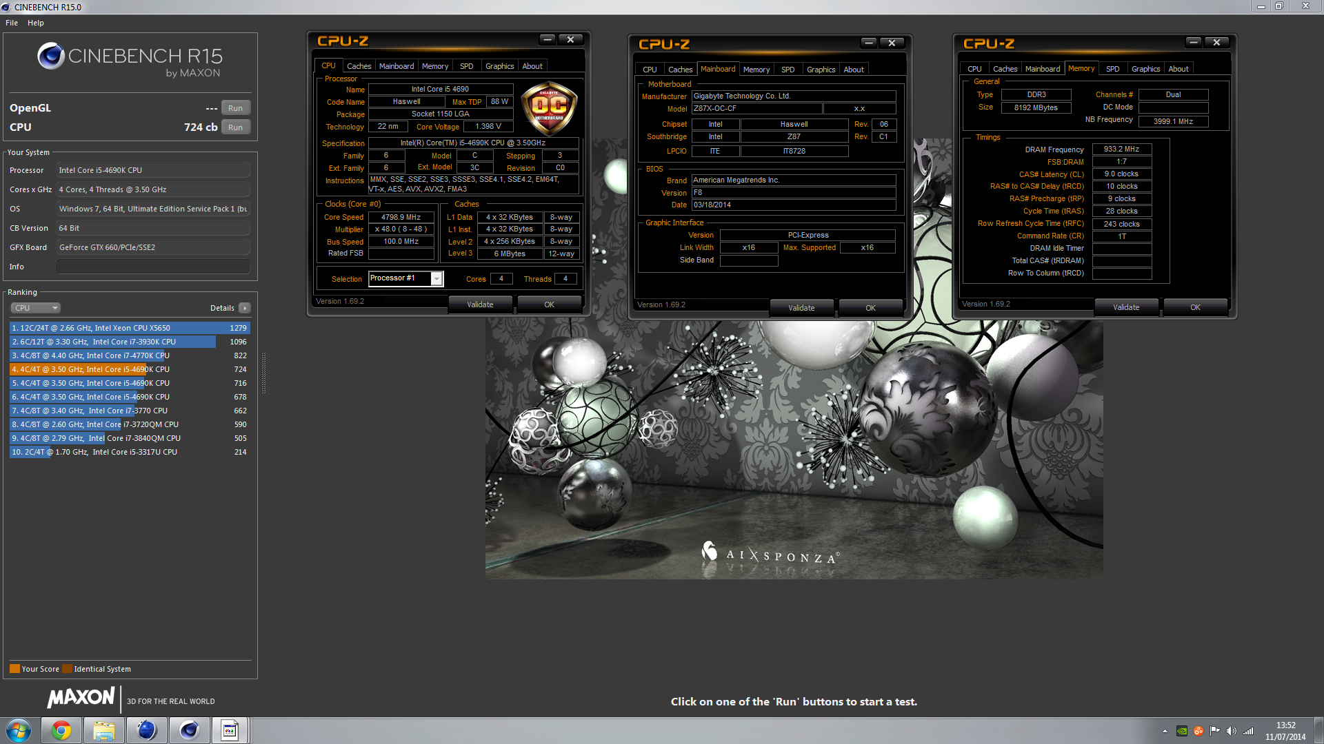 asis_92`s Cinebench - R15 score: 724 cb with a Core i5 4690K