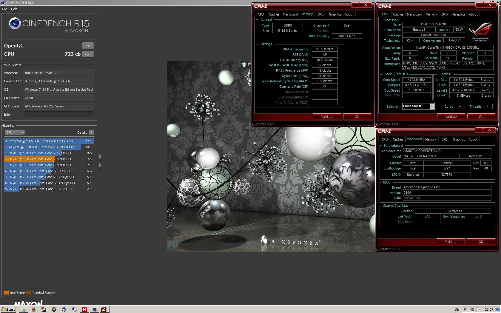 rellikemmiT`s Cinebench - R15 score: 723 cb with a Core i5 4690K