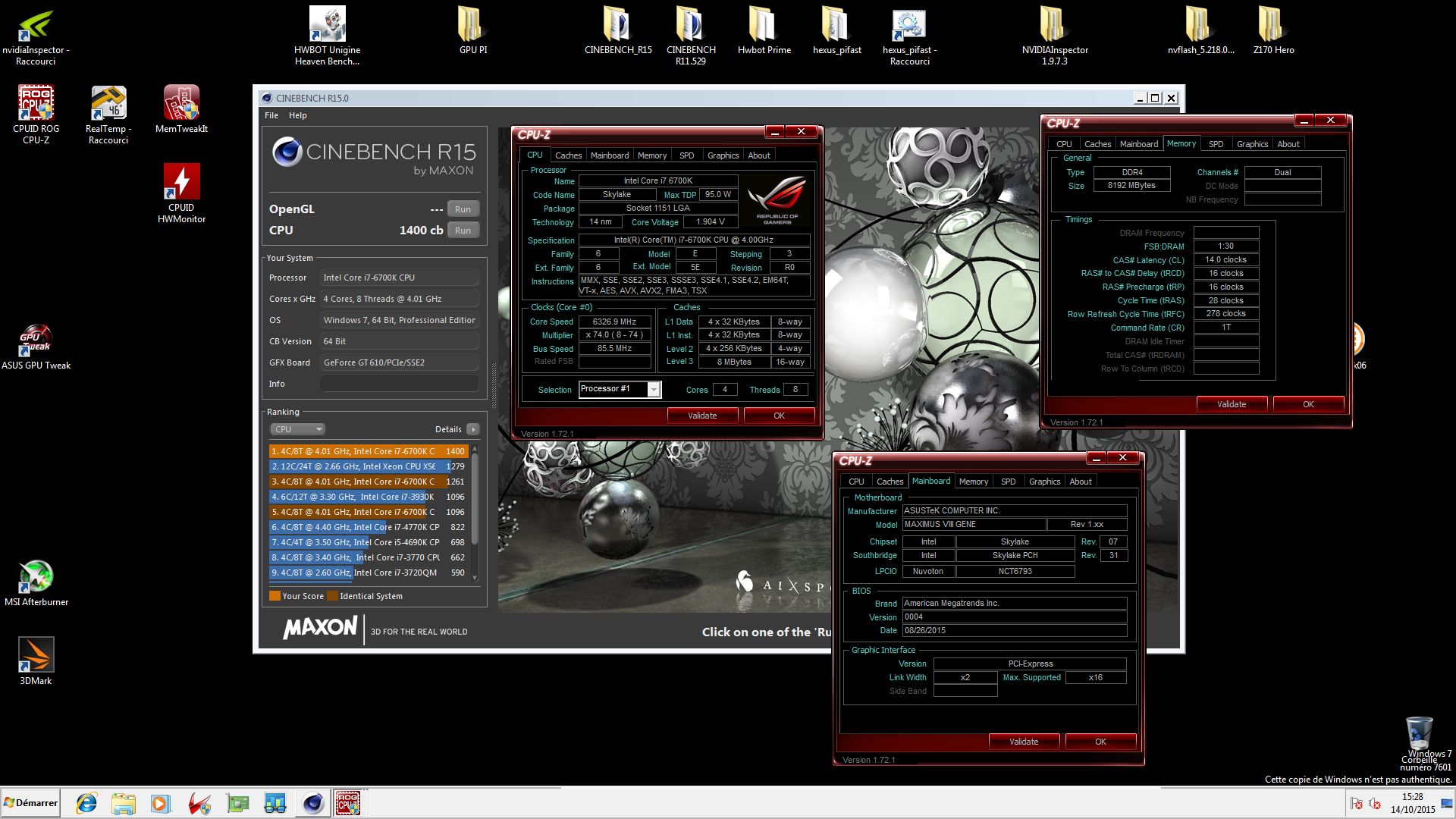 Zwitterion`s Cinebench - R15 score: 1400 cb with a Core i7 6700K