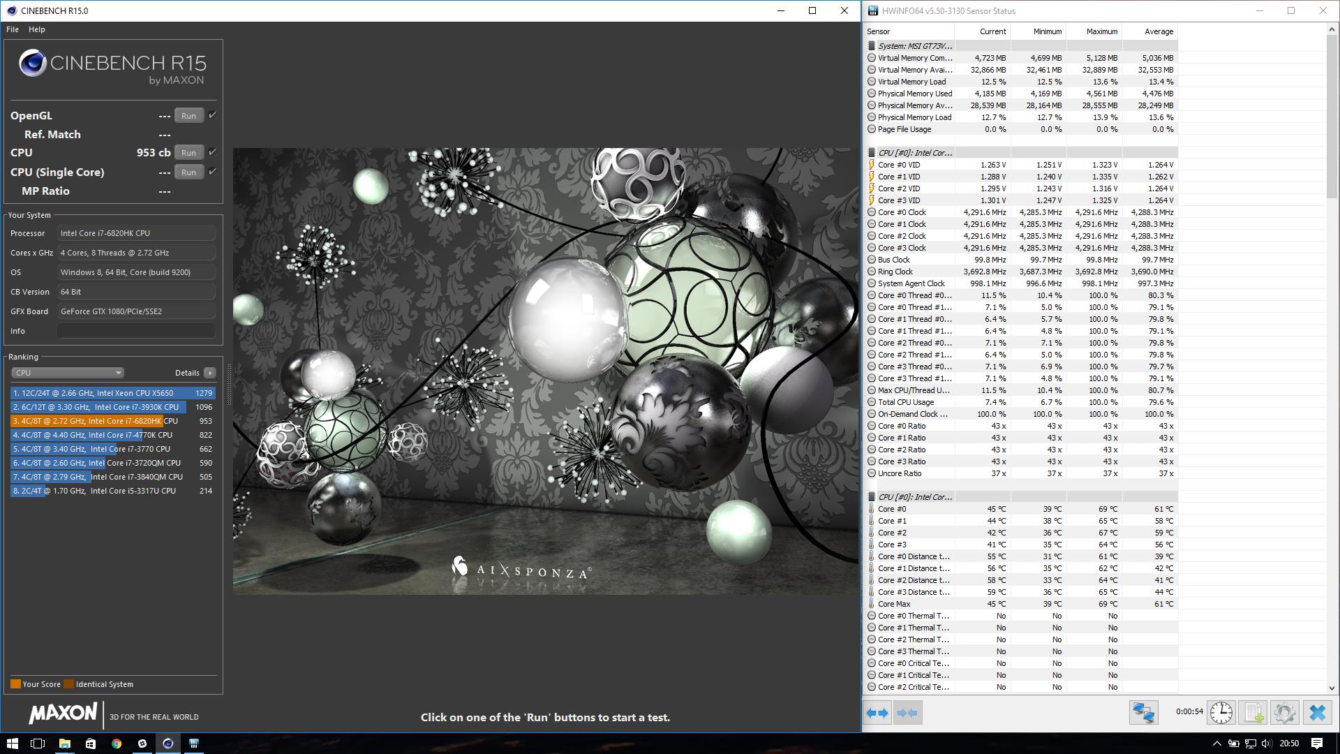 cdf942e0af0 Jizzy`s Cinebench - R15 score  953 cb with a Core i7 6820HK