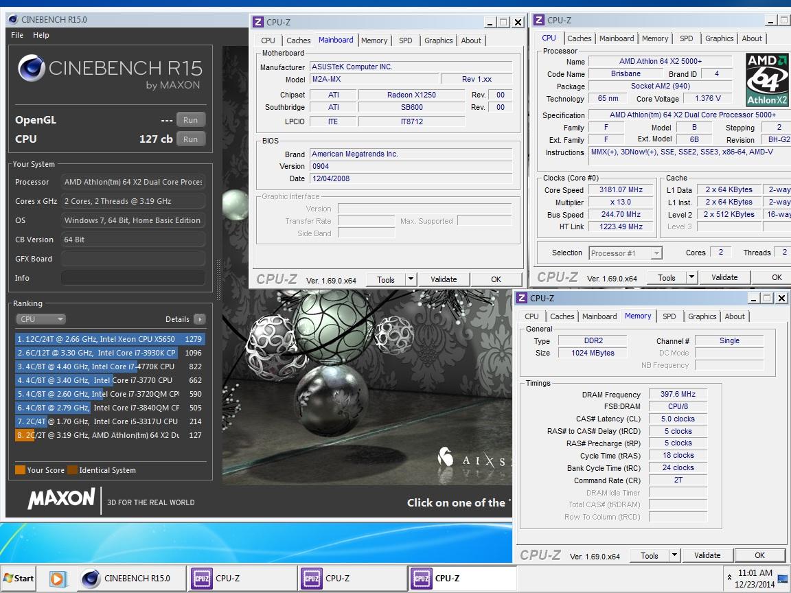 Esi13 S Cinebench R15 Score 127 Cb With A Athlon 64 X2 5000 Brisbane