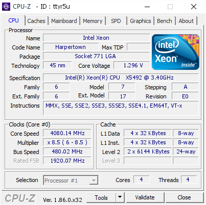 Pipes S Cpu Frequency Score 4080 14 Mhz With A Xeon X5492