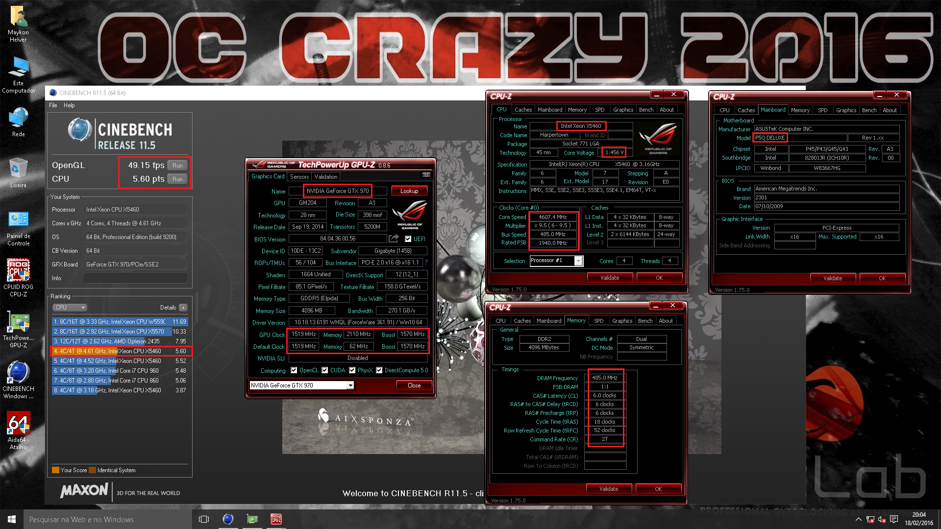 EROSBENCH`s Cinebench - R11 5 score: 5 6 points with a Xeon