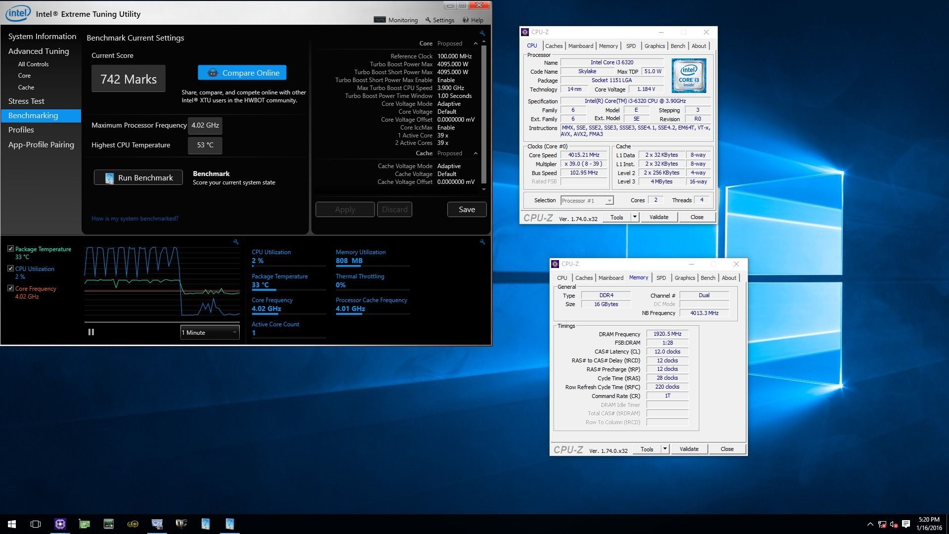 sskmercer's 742 marks XTU run with Core i3 6320 @ 4015.2MHz