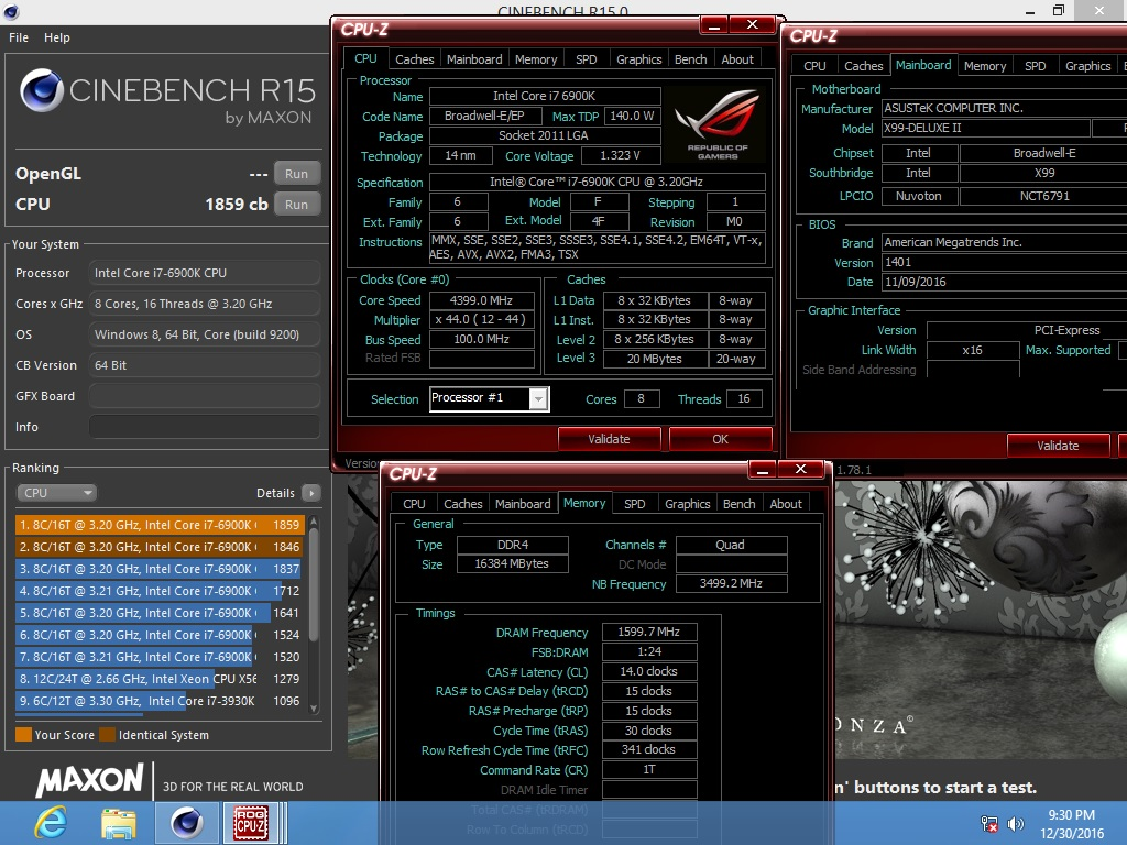 watts`s Cinebench - R15 score: 1859 cb with a Core i7 6900K
