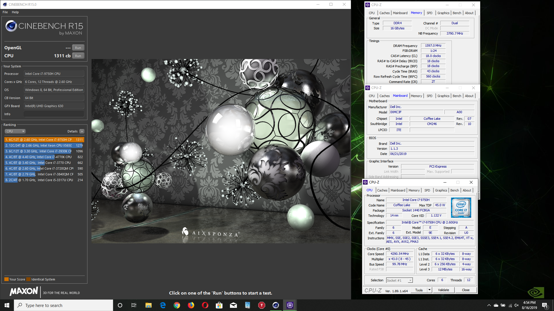 Berfs1`s Cinebench - R15 score: 1311 cb with a Core i7 9750H