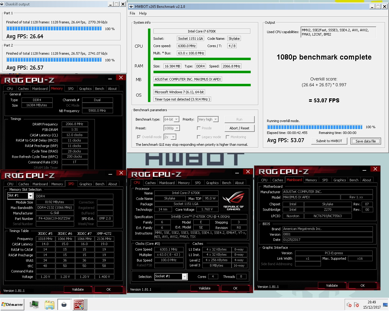 Ziken`s HWBOT x265 Benchmark - 1080p score: 53 07 fps with a