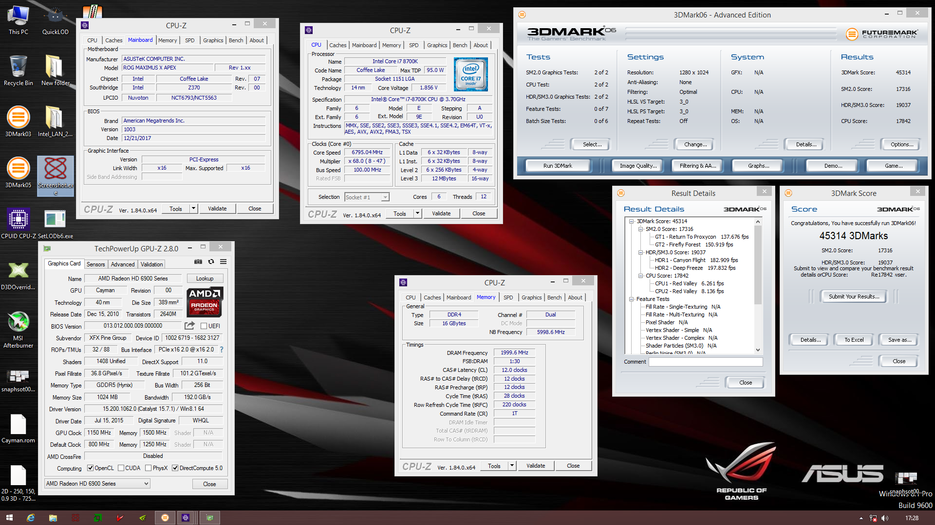 xMec`s 3DMark06 score: 45314 marks with a Radeon HD 6950