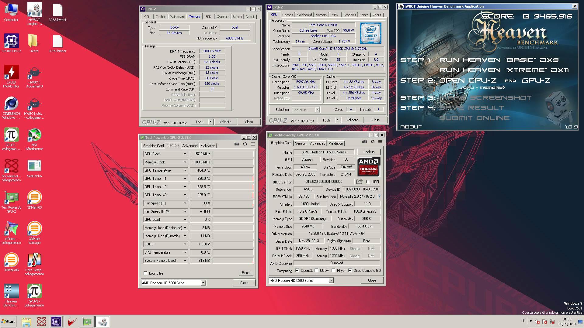 xMec`s Unigine Heaven - Basic score: 3465 92 DX9 Marks with