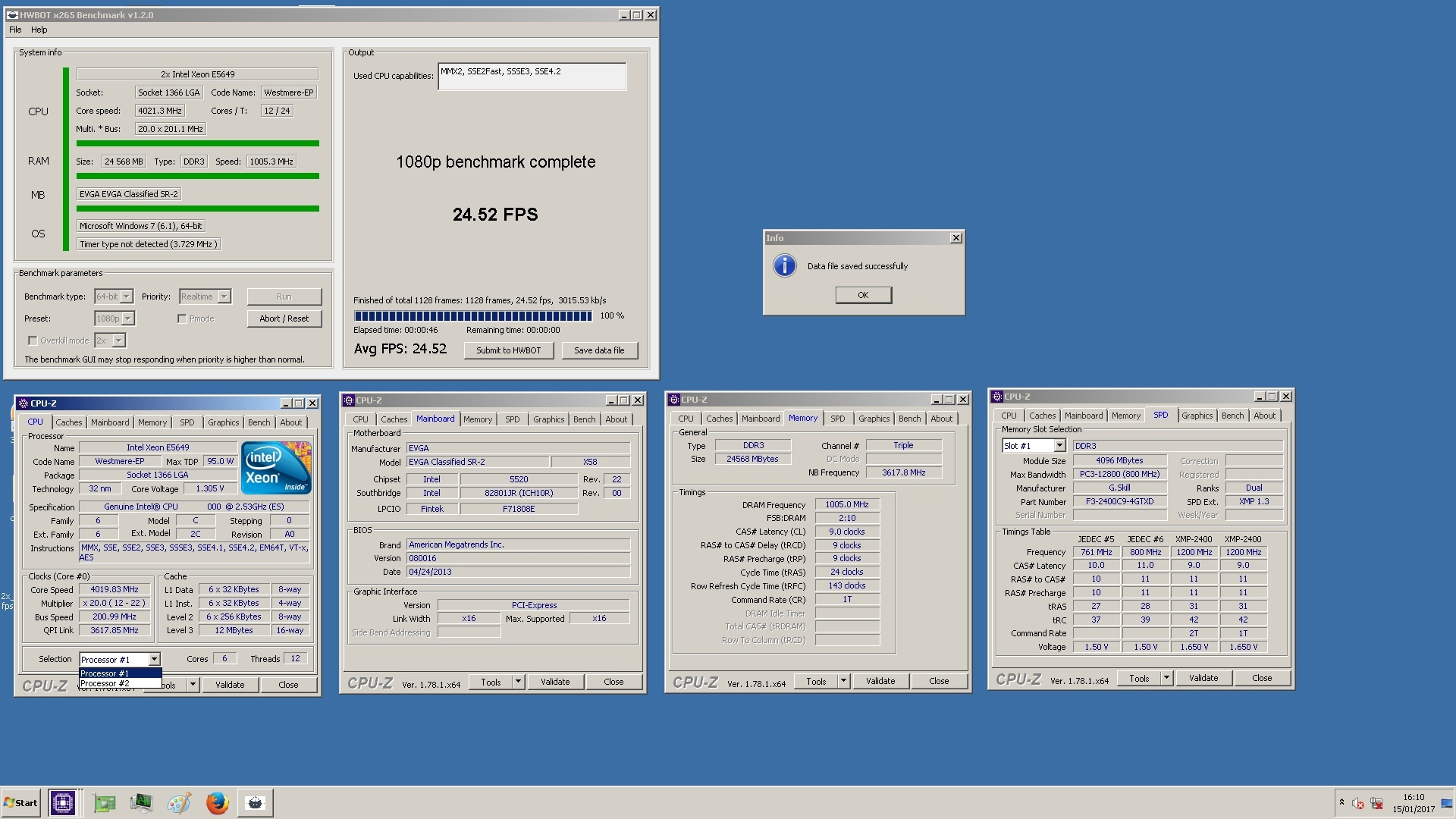 pilu`s HWBOT x265 Benchmark - 1080p score: 24 52 fps with a Xeon E5649
